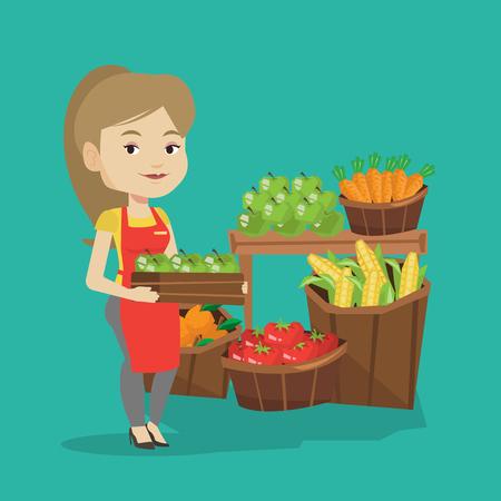 caucásico trabajador de tienda de comestibles de pie delante de la sección de verduras y frutas. trabajadora del supermercado con una caja con manzanas. Vector de diseño plano ilustración. de planta cuadrada.