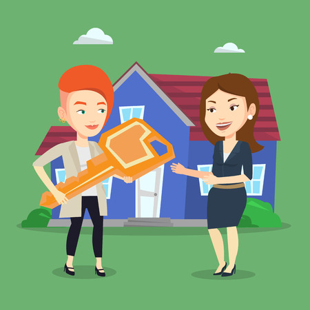 Friendly real estate agent giving key to a new owner of house. Caucasian real estate agent passing house keys to a new owner. Woman buying a new house. Vector flat design illustration. Square layout Illustration
