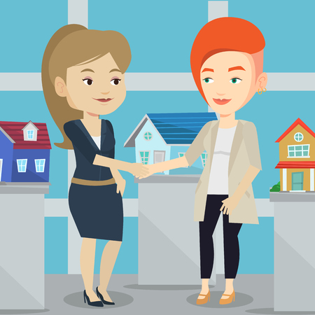 Young caucasian realtor shaking hand to female customer after real estate deal in office. Conclusion of real estate deal between realtor and buyer. Vector flat design illustration. Square layout. Illustration