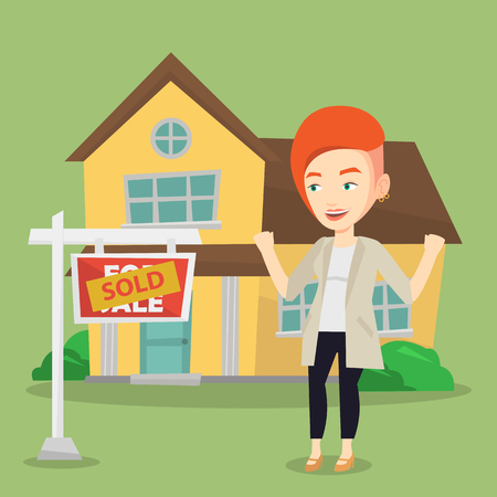 real estate sold: Excited caucasian real estate agent standing in front of sold real estate placard and house. Professional successful real estate agent sold a house. Vector flat design illustration. Square layout.
