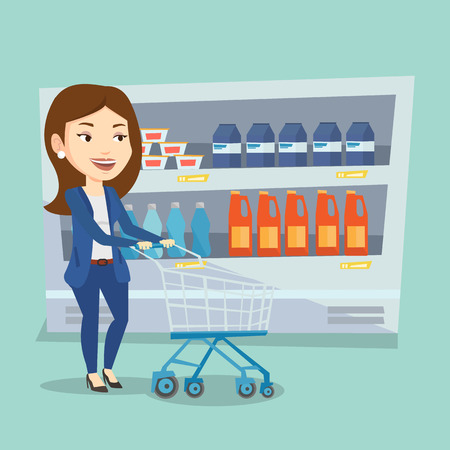 woman shopping cart: Caucasian woman walking with cart on aisle at supermarket. Young woman pushing an empty supermarket cart. Customer shopping at supermarket with cart. Vector flat design illustration. Square layout.