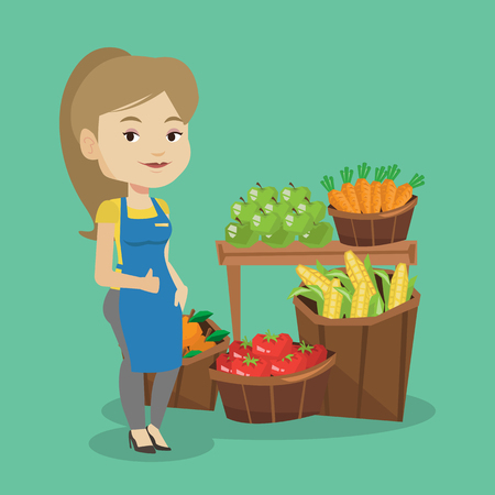 Caucasian female supermarket worker giving thumb up. Young female supermarket worker standing on the background of shelves with vegetables and fruits. Vector flat design illustration. Square layout. Vectores