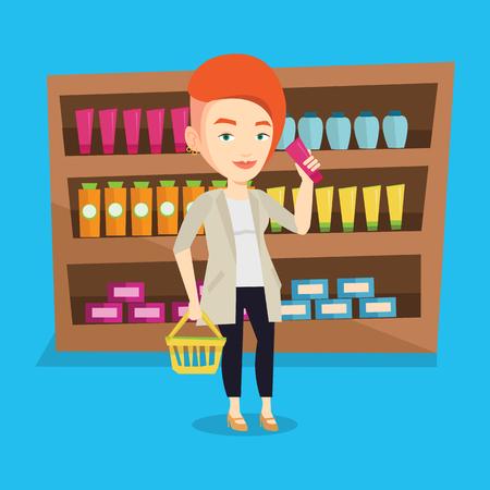 mujer en el supermercado: Caucásico compra del cliente femenina en el supermercado con la cesta. al cliente joven que sostiene una cesta en una mano y un tubo de crema en otro. Vector de diseño plano ilustración. de planta cuadrada. Vectores