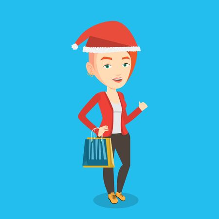 happy shopper: Woman in santa hat holding shopping bags. Caucasian woman carrying shopping bags. Girl with a lot of shopping bags. Young woman buying christmas gifts. Vector flat design illustration. Square layout
