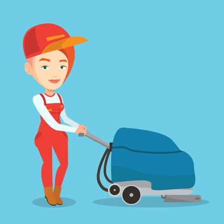 mujer en el supermercado: Mujer joven que limpia cucasian suelo supermercado. Mujer cómoda trabajando con la máquina de limpieza. trabajadora de los servicios de limpieza en el supermercado. Vector de diseño plano ilustración. planta cuadrada Vectores