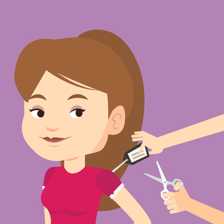 removing: Woman removing price tag off new t-shirt. Young caucasian woman cutting price tag off new clothes with scissors. Happy woman shopping at clothes store. Vector flat design illustration. Square layout.