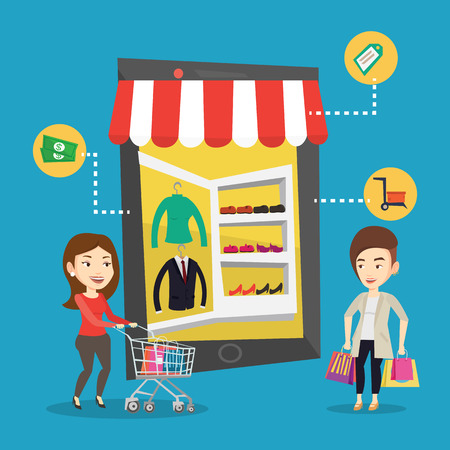 Young caucasian two women doing online shopping. Smiling women using mobile shopping. Happy people walking in store that looks like tablet computer. Vector flat design illustration. Square layout.