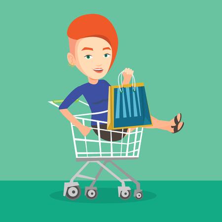 mujer en el supermercado: cliente despreocupada jóvenes se divierten mientras se conduce por la carretilla de las compras. mujer caucásica alegre con una gran cantidad de bolsas de la compra que se sienta en el carrito de la compra. Vector de diseño plano ilustración. de planta cuadrada. Vectores
