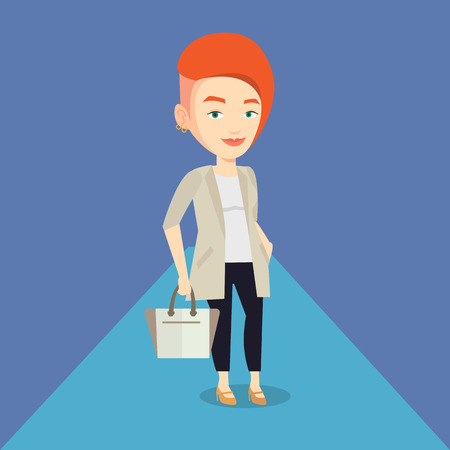 Caucasian woman posing on catwalk during fashion event. Female model walking on catwalk during fashion week. Woman on catwalk during fashion show. Vector flat design illustration. Square layout.