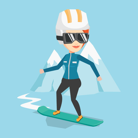 piste: Caucasian woman snowboarding on the background of snow capped mountain. Snowboarder on piste in mountains. Young woman snowboarding in the mountains. Vector flat design illustration. Square layout.