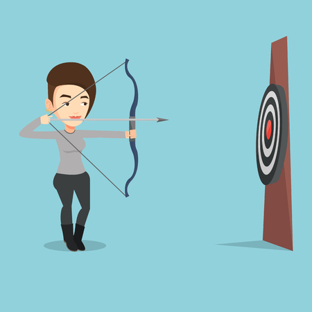 sportswoman: Young caucasian sportswoman shooting with bows during archery competition. Bowman aiming with bow and arrow at the target. Bowman practicing with bow. Vector flat design illustration. Square layout.