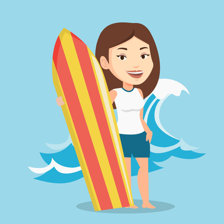Young woman standing with a surfboard on the beach. Professional surfer with a surf board at the beach. Surfer standing on the background of sea wave. Vector flat design illustration. Square layout. Illustration