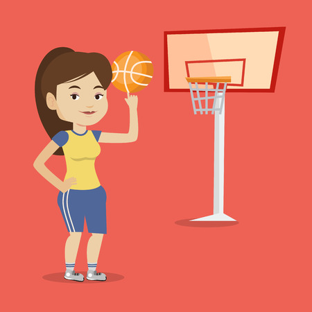sportswoman: Smiling caucasian sportswoman spinning basketball ball on her finger. Young basketball player standing on the court. Basketball player in action. Vector flat design illustration. Square layout. Illustration