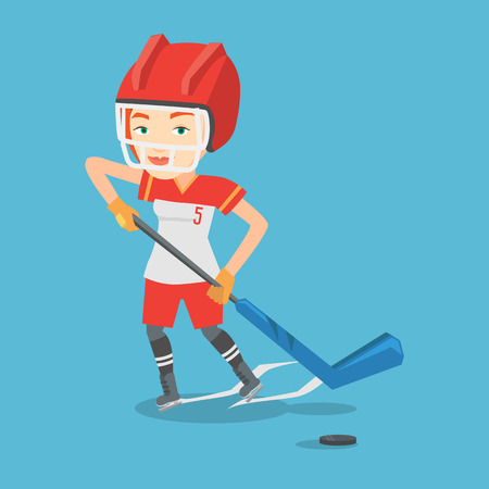 ice hockey player: Young caucasian sportswoman playing ice hockey. Female ice hockey player in uniform skating on a rink. Female ice hockey player with a stick and puck. Vector flat design illustration. Square layout.