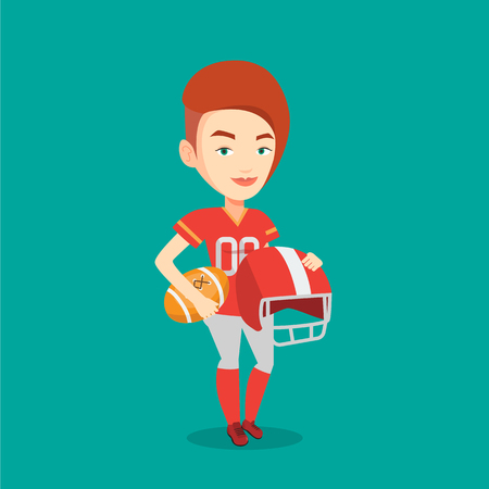 rugby player: Young caucasian rugby player holding ball and helmet in hands. Young smiling female rugby player in uniform. Vector flat design illustration. Square layout. Illustration