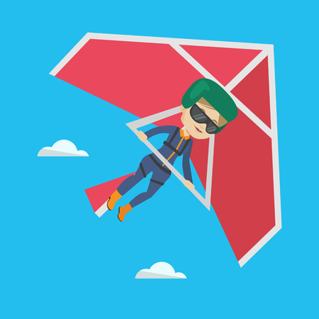Smiling caucasian woman flying on hang-glider. Sportswoman taking part in hang gliding competitions. Woman having fun while gliding on delta-plane. Vector flat design illustration. Square layout. Illustration