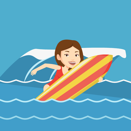 surf board: Caucasian surfer having fun during execution of a move on a blue ocean wave. Young surfer in action on a surf board. Lifestyle and water sport concept. Vector flat design illustration. Square layout.