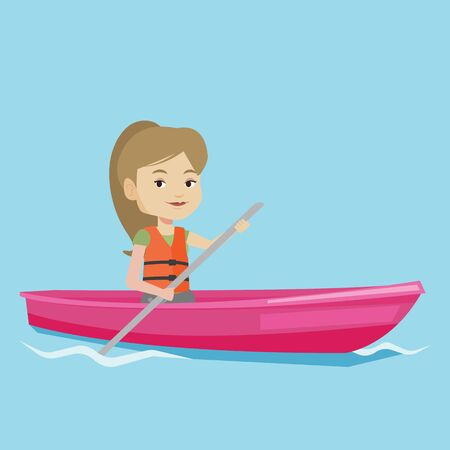 Young caucasian woman riding in a kayak in the river. Woman with skull in hands traveling by kayak. Female kayaker paddling. Woman paddling a canoe. Vector flat design illustration. Square layout.