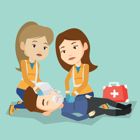 Caucasian paramedics doing cardiopulmonary resuscitation of a woman. Team of young emergency doctors during process of resuscitation of an injured woman. Vector flat design illustration. Square layout Çizim