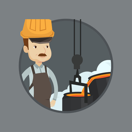 smelting plant: Steelworker at work in the foundry. Steelworker controlling iron smelting in the foundry. Industrial worker of steel making plant. Vector flat design illustration in the circle isolated on background. Illustration