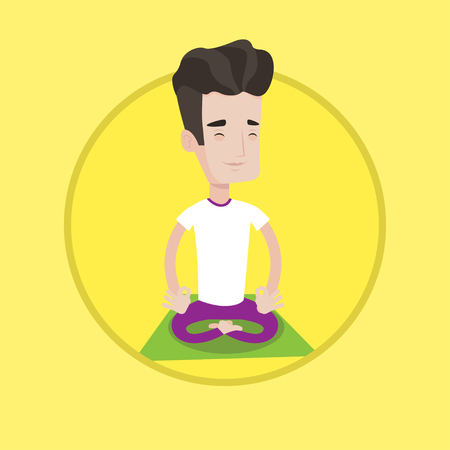 man meditating: Young peaceful man meditating in yoga lotus pose. Caucasian man relaxing in the yoga lotus position. Sportsman doing yoga on mat. Vector flat design illustration in the circle isolated on background.