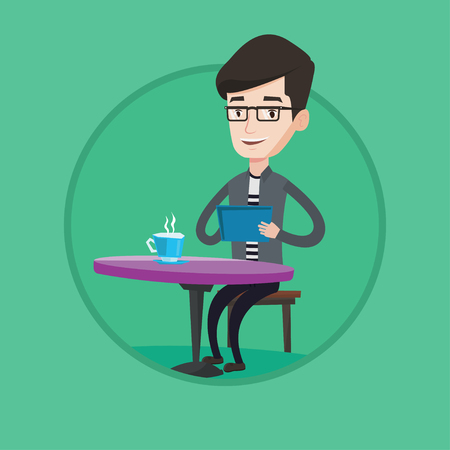 Caucasian man using tablet computer and surfing in social network. Man rewriting in social network. Social network concept. Vector flat design illustration in the circle isolated on background Illustration