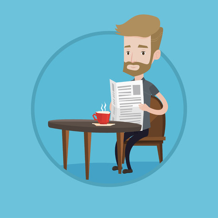 Caucasian man sitting with newspaper in hands and drinking coffee. Young hipster man with beard reading newspaper in a cafe. Vector flat design illustration in the circle isolated on background.