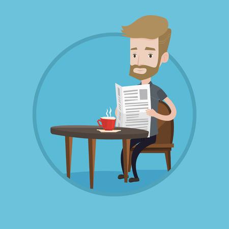 Kaukasischen Mann in die Hände mit Zeitung sitzen und Kaffee zu trinken. Junge Hippie-Mann mit Bart liest Zeitung in einem Café. Vector flache Design, Illustration im Kreis auf Hintergrund.