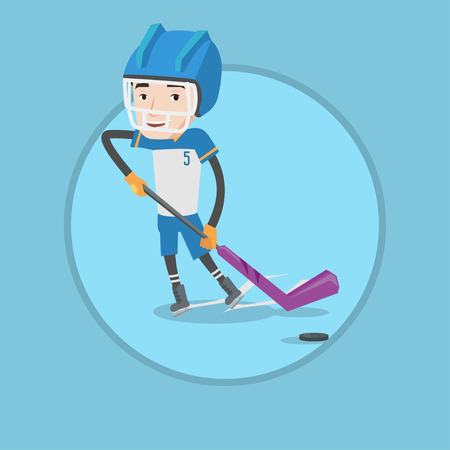 Young happy ice hockey player skating on rink. Ice hockey player with stick and puck. Caucasian smiling man playing ice hockey. Vector flat design illustration in the circle isolated on background