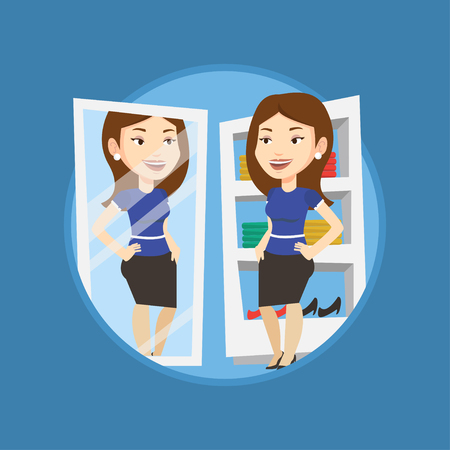 look in mirror: Young woman looking in a mirror at dressing room. Woman trying on skirt at dressing room. Woman choosing clothes in dressing room. Vector flat design illustration in the circle isolated on background. Illustration