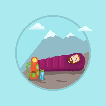 Young caucasian man wrapped up in sleeping bag. Hiking hipster man with the beard lying in sleeping bag during camping vacation. Vector flat design illustration in the circle isolated on background.