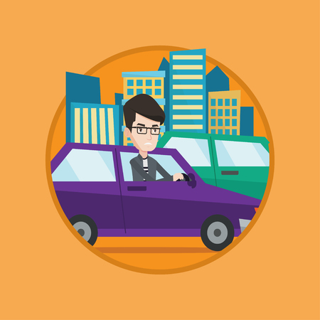 irritated: Angry caucasian man stuck in a traffic jam. Irritated man driving a car in a traffic jam. Agressive driver honking. Vector flat design illustration in the circle isolated on background. Illustration