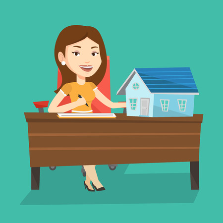 signing agent: Real estate agent signing contract. Real estate agent sitting at workplace in office with house model on the table. Woman signing home purchase contract. Vector flat design illustration. Square layout Illustration