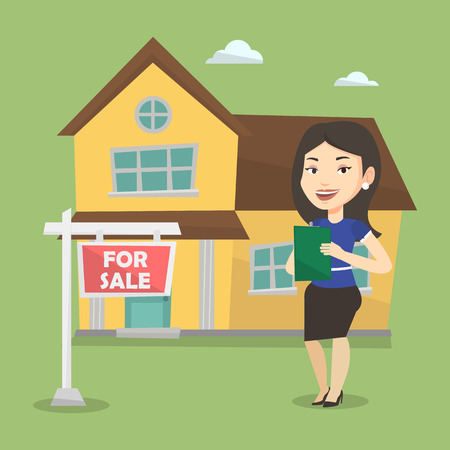 house for sale: Happy real estate agent signing home purchase contract. Real estate agent standing in front of the house with placard for sale. Realtor selling a house. Vector flat design illustration. Square layout.