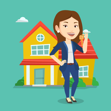 business woman: Young female real estate agent holding keys. Smiling real estate agent with keys standing on a background of the house. Happy new owner with keys house. Vector flat design illustration. Square layout.