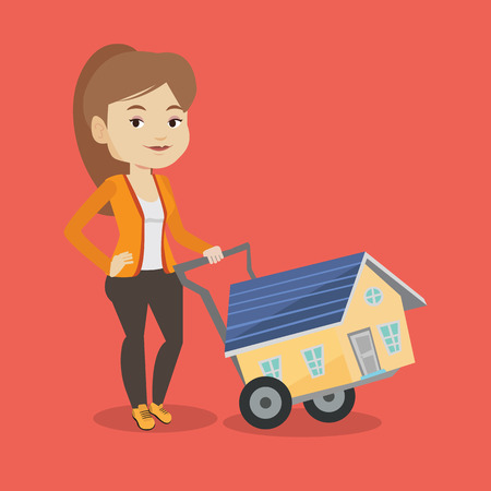 Happy caucasian woman pushing a shopping trolley with a house. Young smiling woman buying home. Woman using shopping trolley to transport a house. Vector flat design illustration. Square layout. Illustration