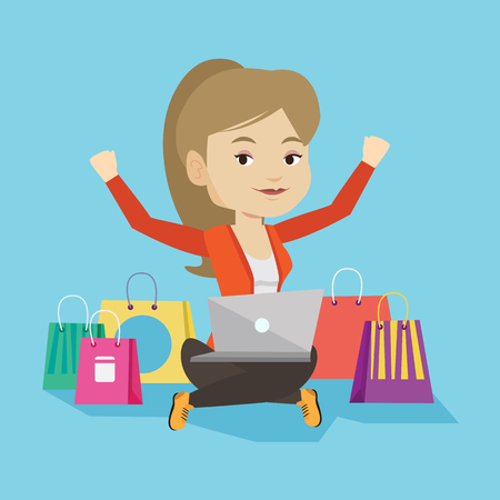 using laptop: Young caucasian woman with hands up using laptop for shopping online. Happy customer sitting with shopping bags around her. Woman doing online shopping. Vector flat design illustration. Square layout.
