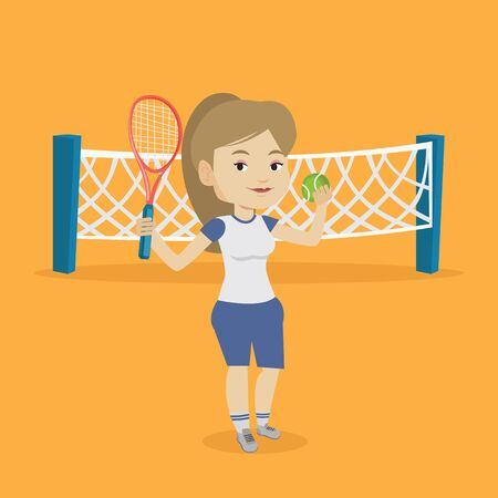 sportswoman: Caucasian cheerful sportswoman playing tennis. Smiling tennis player standing on the court. Happy female tennis player holding a racket and a ball. Vector flat design illustration. Square layout.