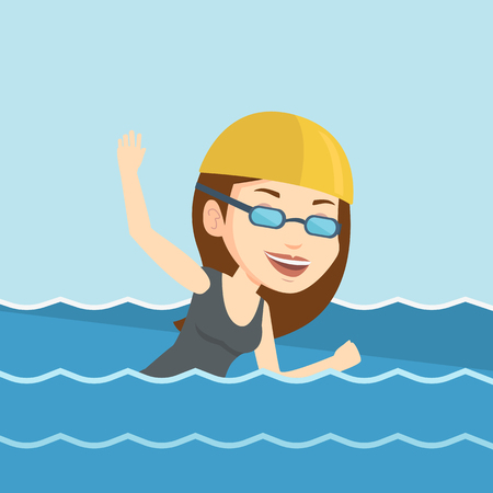 crawl: Young caucasian sportswoman in cap and glasses swimming in pool. Professional female swimmer in swimming pool. Woman swimming forward crawl style. Vector flat design illustration. Square layout. Illustration
