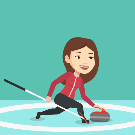 granite: Young caucasian female curling player with stone and broom on a rink. Female curling player delivering a stone. Curling player sliding over the ice. Vector flat design illustration. Square layout.