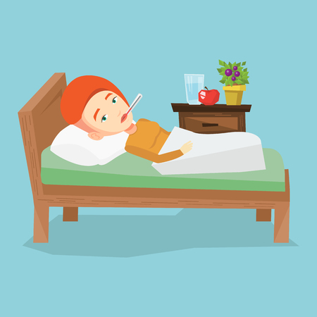 Caucasian sick woman with fever laying in bed. Sick woman measuring temperature with thermometer in mouth. Sick woman suffering from cold or flu virus. Vector flat design illustration. Square layout. Illustration