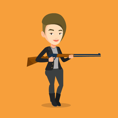 Caucasian woman shooting skeet with shotgun. Hunter ready to hunt with hunting rifle. Young woman aiming with a hunter gun. Hunter holding a long rifle. Vector flat design illustration. Square layout. Illustration