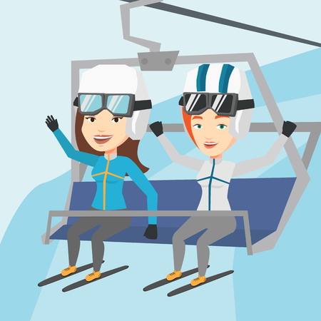 skiers: Two happy women sitting on ski elevator in winter mountains. Skiers using cableway at ski resort. Skiers on cableway in mountains at winter sport resort. Vector flat design illustration. Square layout