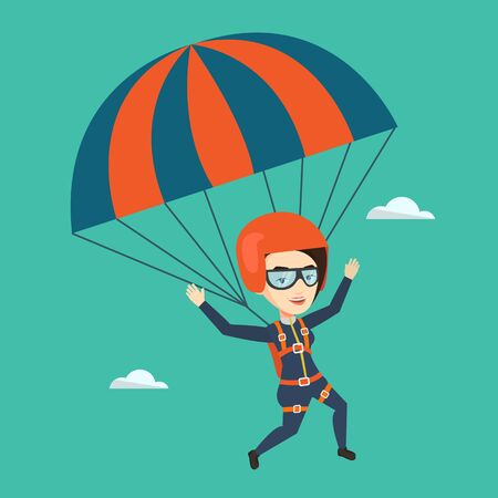 descending: Caucasian woman flying with a parachute. Young woman paragliding on a parachute. Professional parachutist descending with a parachute in a blue sky. Vector flat design illustration. Square layout.