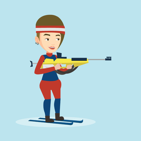 sportswoman: Young caucasian sportswoman taking part in ski biathlon competition. Happy biathlon runner aiming at the target. Female biathlon shooter with a weapon. Vector flat design illustration. Square layout.