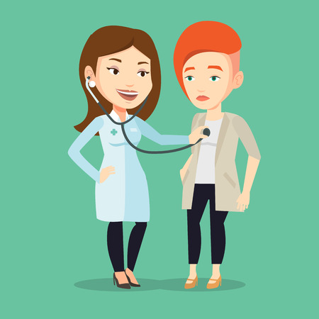 Young caucasian doctor listening to chest of patient with stethoscope. Female patient visiting doctor. Doctor examining chest of a female patient. Vector flat design illustration. Square layout. Ilustrace