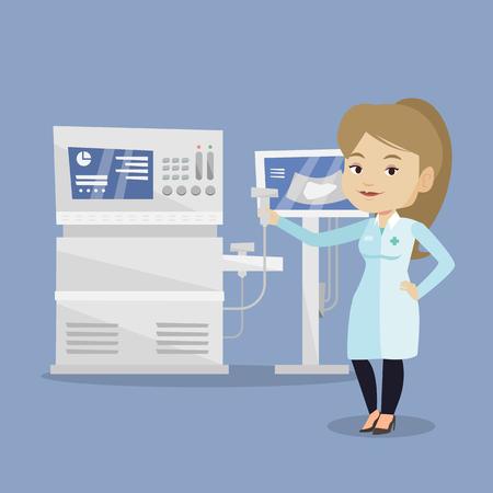 Doctor avec échographe dans la main. Opérateur d'ultrasons machine à balayage analyse foie des patients. Docteur travaillant sur des équipements à ultrasons modernes. Vector design plat illustration.Square layout Vecteurs
