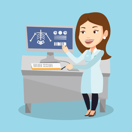 Caucasian doctor in medical gown examining a radiograph. Doctor looking at a chest radiograph on computer screen. Doctor observing a skeleton radiograph. Vector flat design illustration. Square layout