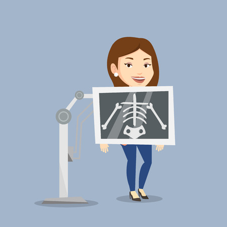 chest x ray: Young caucasian woman during chest x ray procedure. Smiling woman with x ray screen showing her skeleton. Happy female patient visiting roentgenologist. Vector flat design illustration. Square layout. Illustration