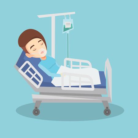 reanimation: Young caucasian woman lying in hospital bed with oxygen mask. Woman during medical procedure with drop counter. Patient recovering in bed in hospital. Vector flat design illustration. Square layout.